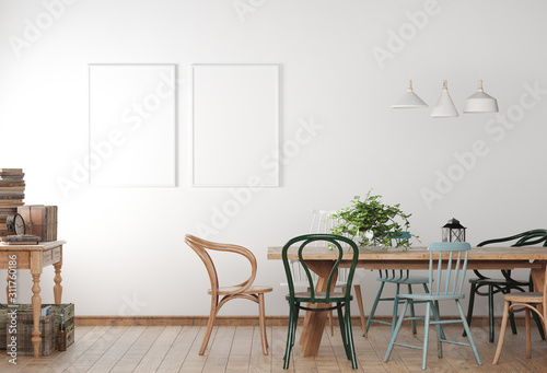 Fotografía Mock up poster frame in farmhouse dining room with wooden colored chairs and table