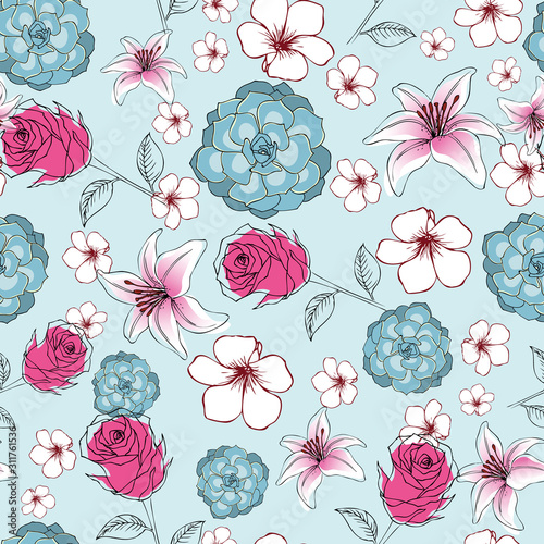 seamless-floral-pattern-of-exotic-lily-flowers-roses-and-succulents