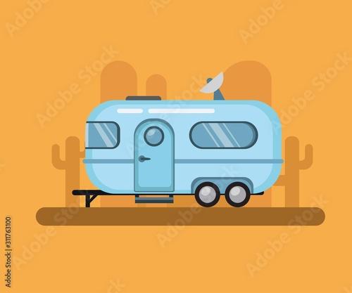 Vintage Travel Trailer, airstream camper in desert sunset Canvas Print