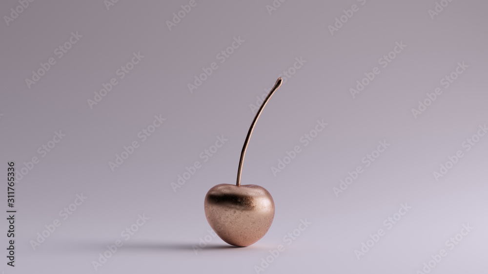 Bronze Cherry with Stalk 3d illustration 3d render