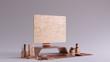 canvas print picture - Bronze Contemporary Desk Setup Front View 3d illustration 3d render