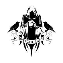 Black And White Vector Image Of A Sorcerer With A Skull And Ravens. Image On A White Background.