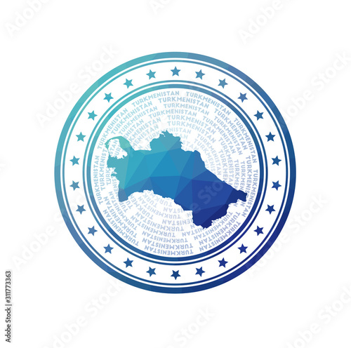 Flat low poly stamp of Turkmenistan Canvas Print