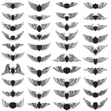 Set Of Emblems With Wings. Des...