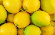 Fresh Yellow - Green Lemons Close-up. Food Backgrounds.