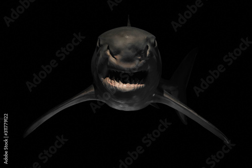 Angry shark with sharp teeth Poster Mural XXL