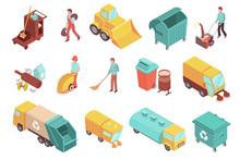 Sweeper Isometric Icons Set