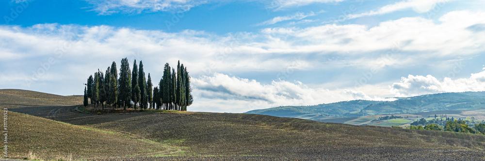 Landscape around Siena called Crete Senesi Siena, Tuscany, Italy. Wide banner