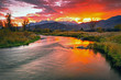 canvas print picture - Golden sunset at the Provo River, Midway, Utah, USA.