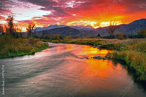 Fototapeta Golden sunset at the Provo River, Midway, Utah, USA. obraz