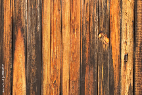 Fototapeta fragment of the gate from old wooden planks in natural color obraz