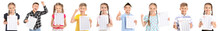 Happy Children With Results Of School Test On White Background