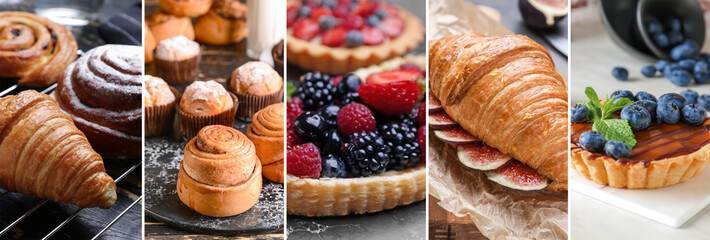 Panel Szklany Do cukierni Collage of photos with different tasty pastries