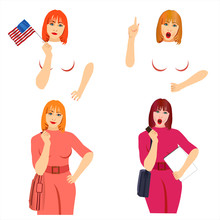 Business Women  Portraits Standing, Gesturing, Pointing & Hands Set. Woman Presentation Or Teacher Lecture Poses. Female Managers With Tablets And Clipboards. Face Expressions Of Redhead Woman.