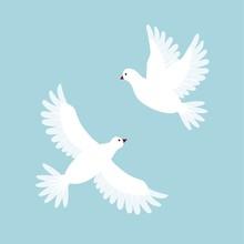 Decorative White Dove. Pingeon Bird. Flying In Sky. Cute Cartoon Flat Design.