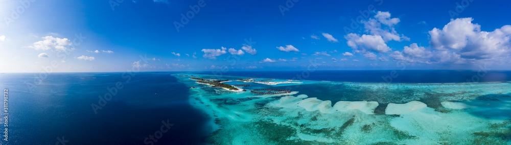 Fototapeta Aerial view,  island Olhuveli and Bodufinolhu, South Male Atoll, Maldives