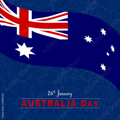 Waving flag of Australia, on a textured/grungy background. Banner/poster/greeting card for Australia day, on 26th January.
