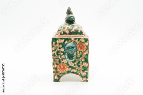 古い焼き物のカラフルな香炉 Fototapeta