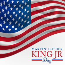 MLK Martin Luther King Jr. Day Vector Illustration Background With American Flag