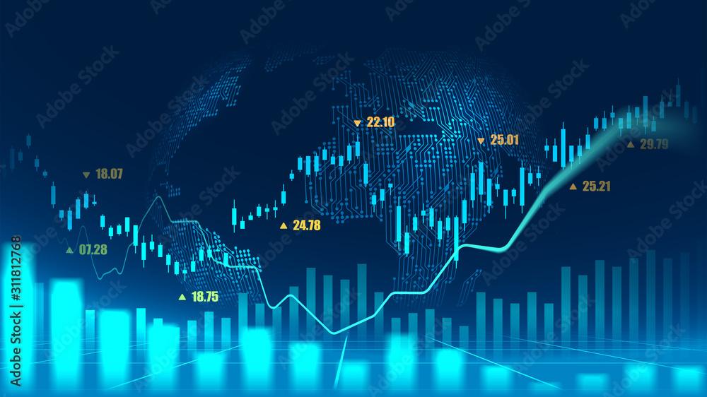Fototapeta Stock market or forex trading graph concept