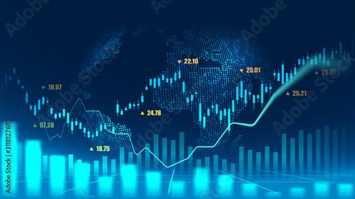 Fototapeta Stock market or forex trading graph concept obraz