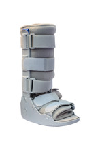 Soft Cast Right Ankle Boot For Adult, Soft Cast Legs And Ankle Cover Type That Designed For Patients With Orthopedic Surgery Injuries, Fracture And Ankle Sprain, Isolated On White Background