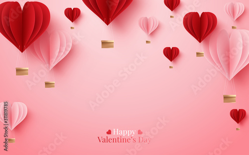 Obraz Valentines of paper craft design, contain pink hearts and clouds. Vector illustration - fototapety do salonu