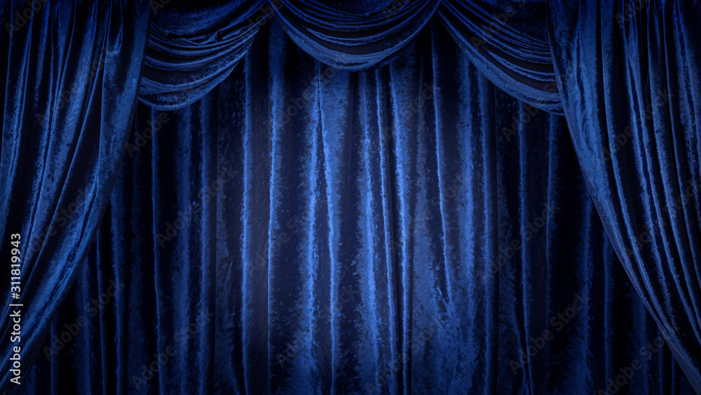 Fototapeta 青いベルベットのステージ