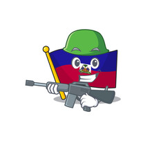 A Mascot Of Flag Haiti Scroll Army With Machine Gun