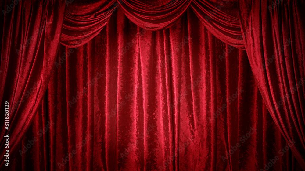 Fototapeta 赤いベルベットのステージ