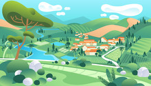 Country Landscape Illustration With Houses, River, Mountain, Trees And Beautiful Scenery Vector