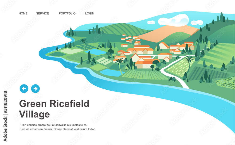 Fototapeta village with houses, ricefield, mountain and river landscape vector illustration