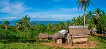 A Small Village On A Beautiful Tropical Island, With Traditional Thatched Houses Built By Indigenous Mangyan People, Who Live On Mindoro Island.
