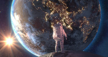 Astronaut Neil Armstrong, Spacewalk On The Moon Surface Watching Planet Earth From Space. Elements Of This Image Furnished By NASA, 3d Render