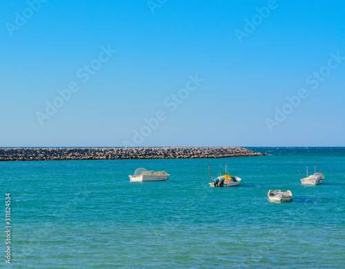 Fishing boats in a cove on the Persian Gulf. United Arab Emirates Wallpaper Mural