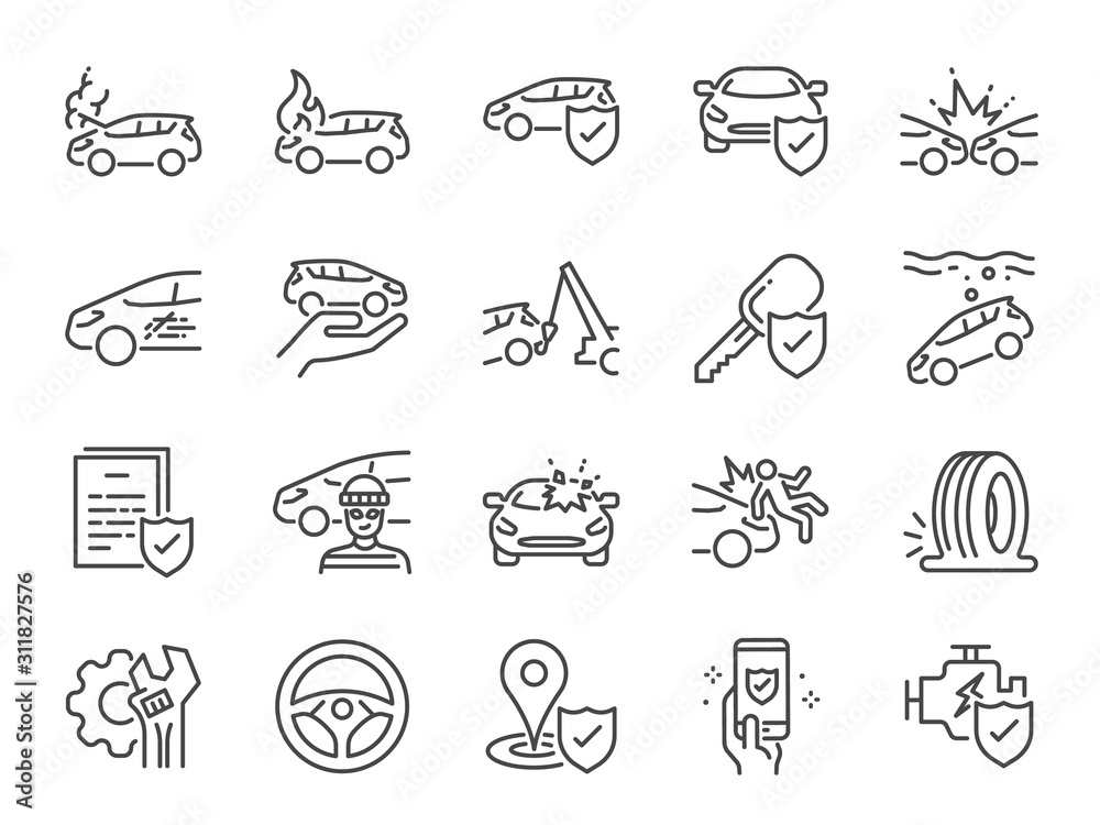 Fototapeta Car insurance icon set. Included icons as emergency, risk management, protection, accident, Side Collision, Front Collision, Broken Car and more.