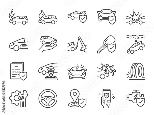 Car insurance icon set. Included icons as emergency, risk management, protection, accident, Side Collision, Front Collision, Broken Car and more. - fototapety na wymiar