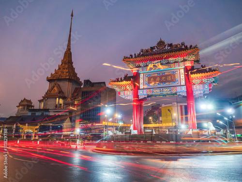 Long exposure of Chinatown Gate in Bangkok, Thailand