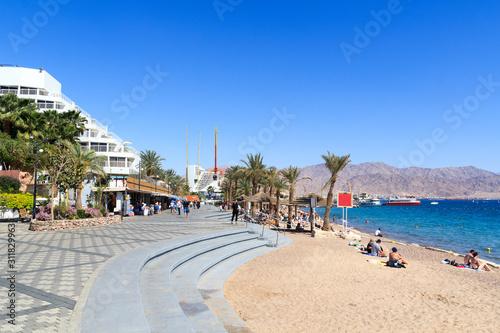 Fotografie, Obraz Eilat resort promenade with hotels and Beach at Red Sea, Israel