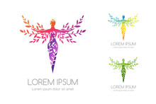 Women With Ornamental Tree Logo Template. Vector Illustration Of Feminine Silhouette With Decorative Leaves.