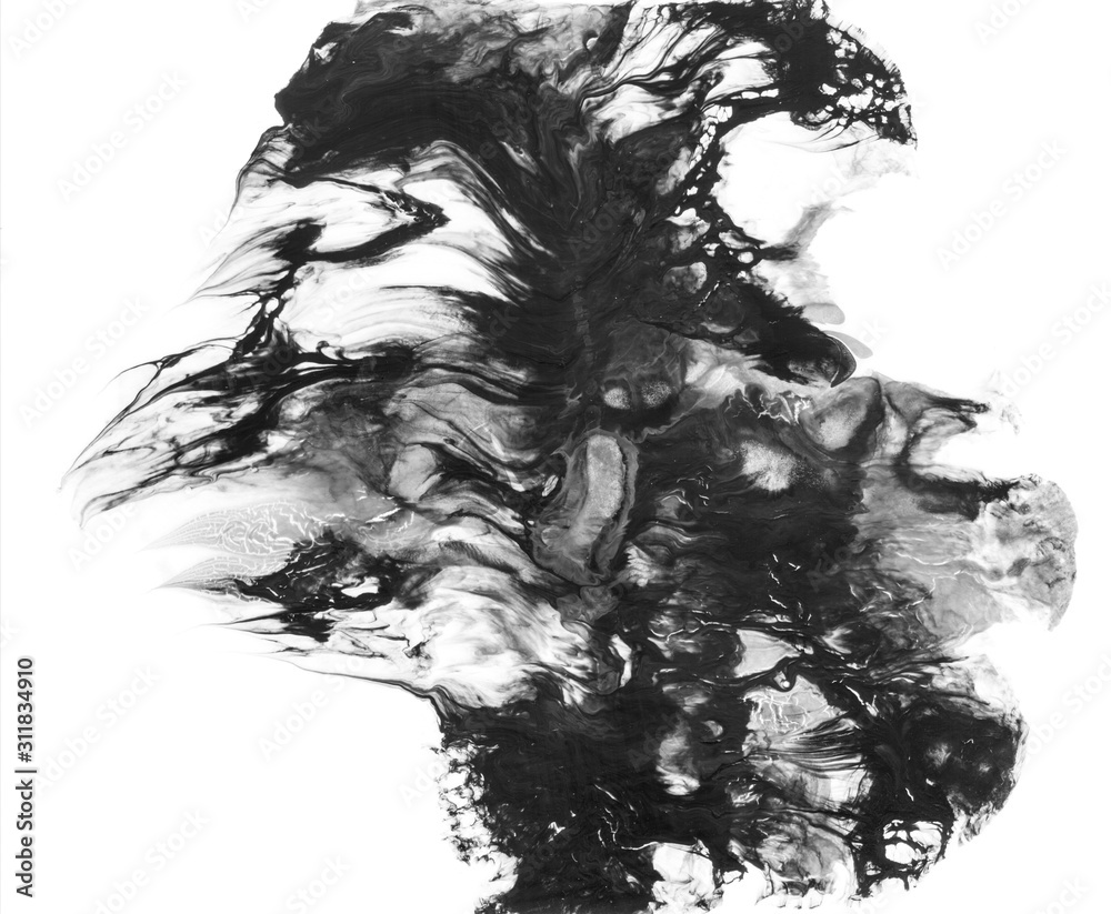 Abstract black and gray watercolor colorful background and Paint strokes isolated on white background