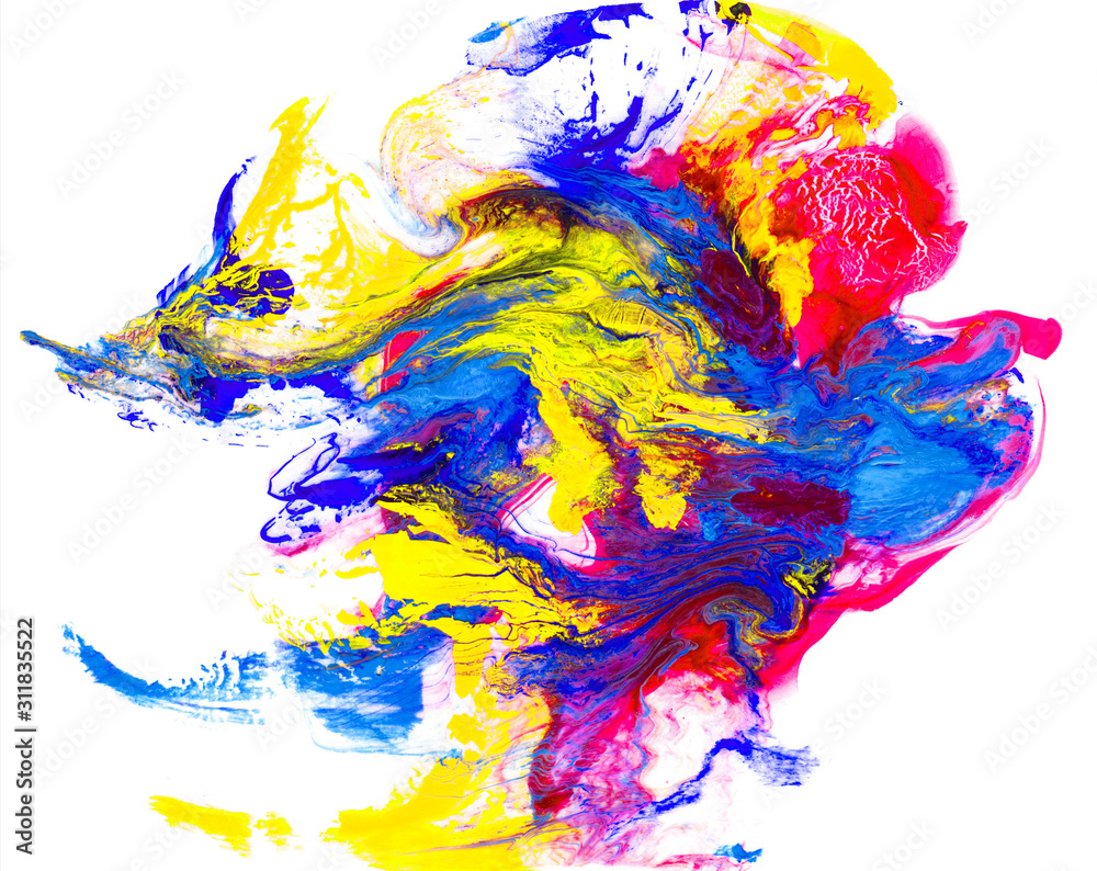 Abstract colorful watercolor colorful background and Paint strokes isolated on white background