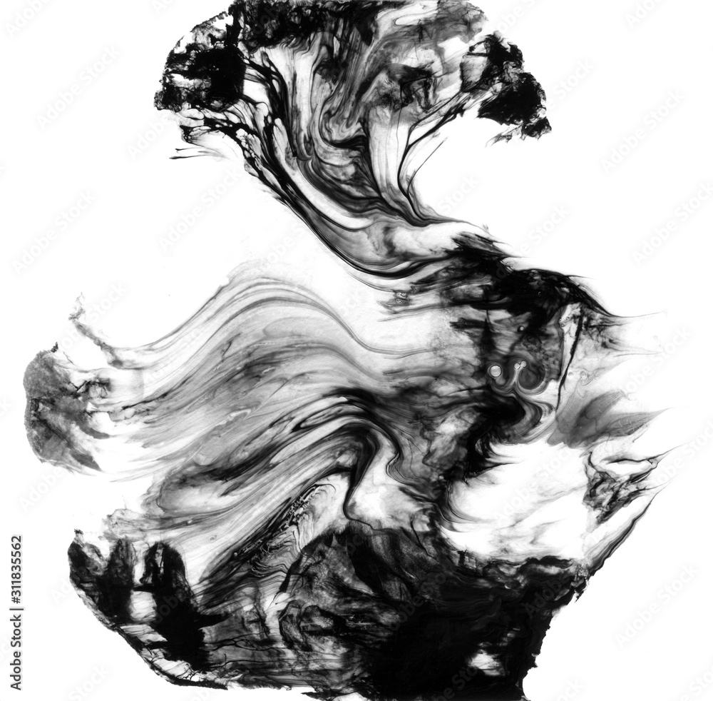 Abstract black watercolor colorful background and Paint strokes isolated on white background