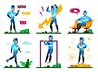 Young Male Student Daily Activities, Sportsman Routines Trendy Flat Vector Concepts Set. Man in Sportswear Messaging with Cellphone, Using Laptop, Training Outdoors, Winning Competition Illustrations