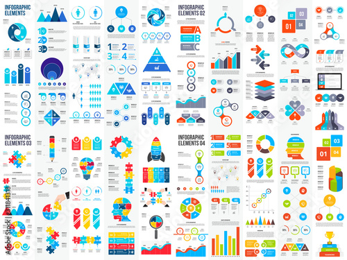 Obraz Big set of infographic elements. Can be used for steps, business processes, workflow, diagram, flowchart concept and timeline. Data visualization vector design template - fototapety do salonu
