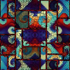Panel Szklany Podświetlane Mozaika Relief waves of ornamental mosaic tile patterns