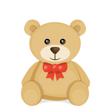 Cute Cartoon Teddy Bear. Vector Illustration For Valentine's Day.
