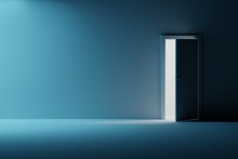 Empty Interior In Blue Colors With Single Opened Door With Light Coming Through. Room With Empty Copy Blank Space On The Presentation Wall.