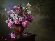 canvas print picture - Still life with bouquet of flowers in a vase on wooden table