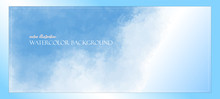 Blue Watercolor Sky. Banner With Free Space For Your Graphics, Subtitles. Cyan Colors Illuminated By The Rays Of The Bright Sun. Vector Illustration Delicate And Subtle, Ethereal. Realistic Clouds.